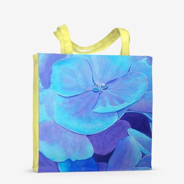 Сумка-шоппер «Цветы голубой гортензии, акварельный летний ботанический принт»