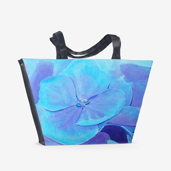 Пляжная сумка «Цветы голубой гортензии, акварельный летний ботанический принт»