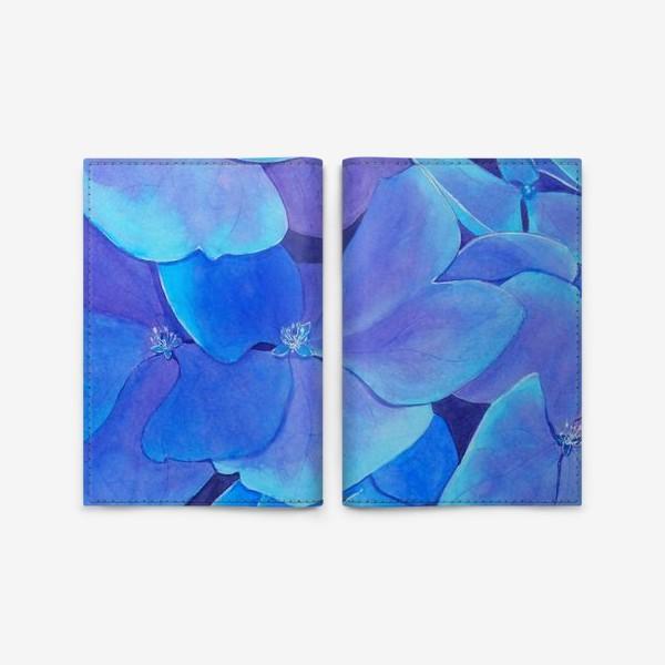 Обложка для паспорта «Цветы голубой гортензии, акварельный летний ботанический принт»