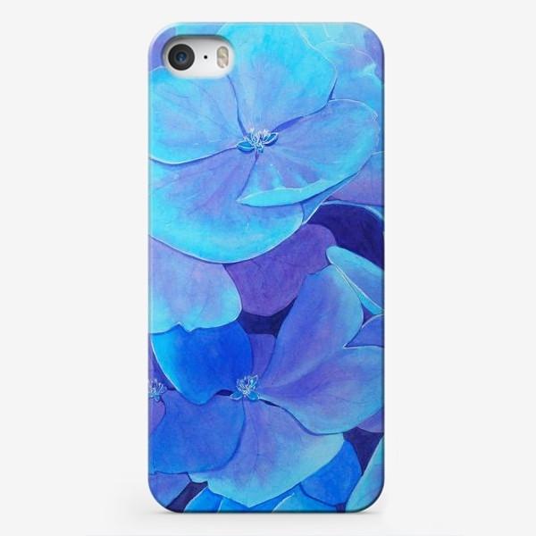 Чехол iPhone «Цветы голубой гортензии, акварельный летний ботанический принт»