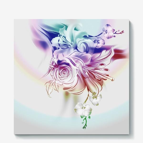 Холст «Лилия, роза и орхидея»