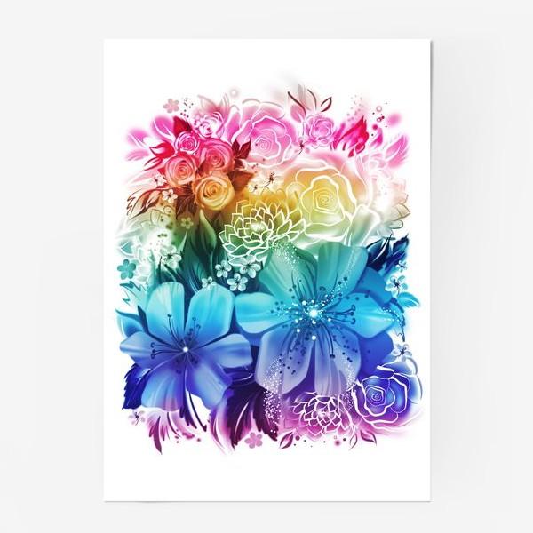 Постер «Розы и ромашки с радужным градиентом»