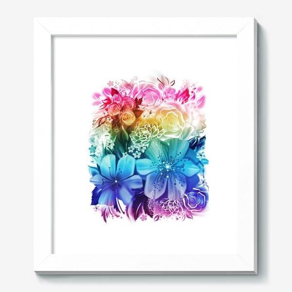 Картина «Розы и ромашки с радужным градиентом»