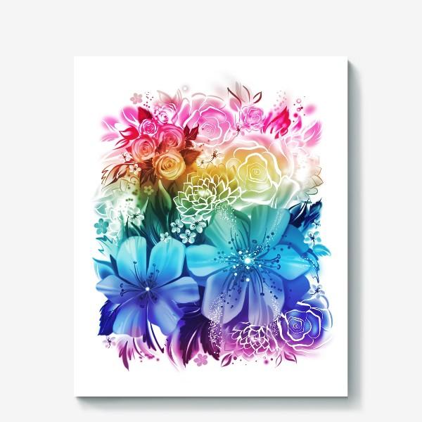 Холст «Розы и ромашки с радужным градиентом»