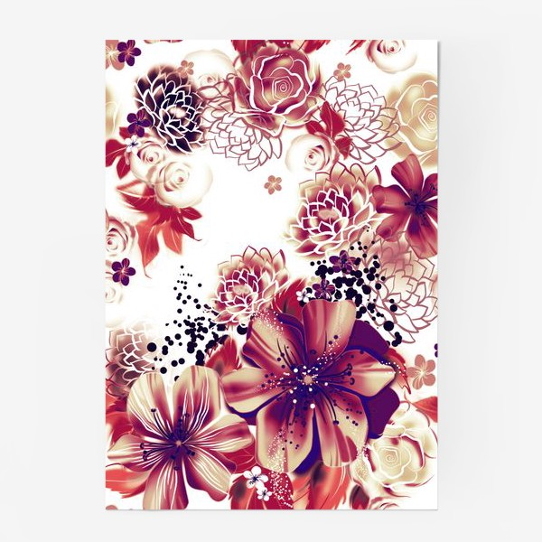 Постер «Ромашки и розы, паттерн»
