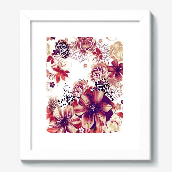 Картина «Ромашки и розы, паттерн»