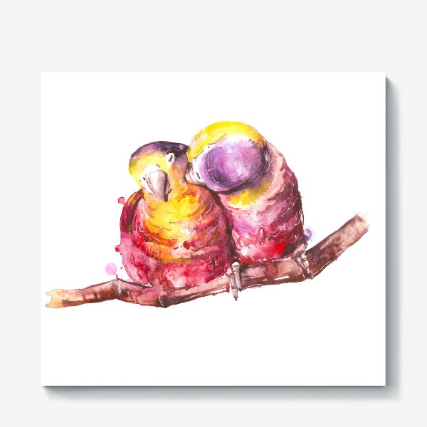 Холст «попугай любовь»