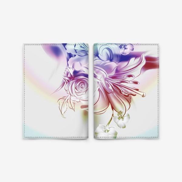 Обложка для паспорта «Лилия, роза и орхидея»