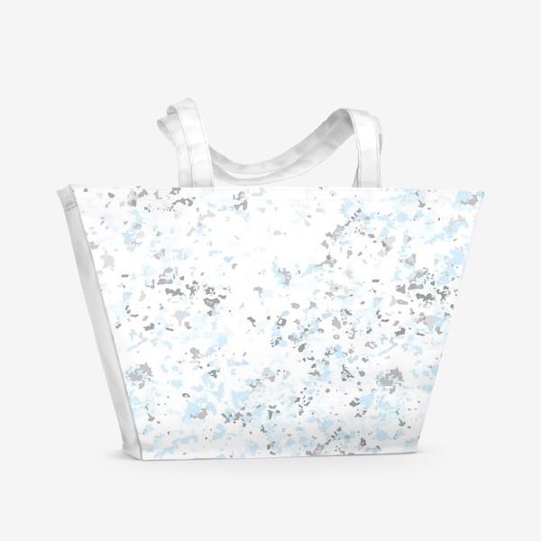 Пляжная сумка «Абстрактная серо-голубая текстура»