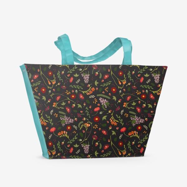 Пляжная сумка «Октябрьские цветы»