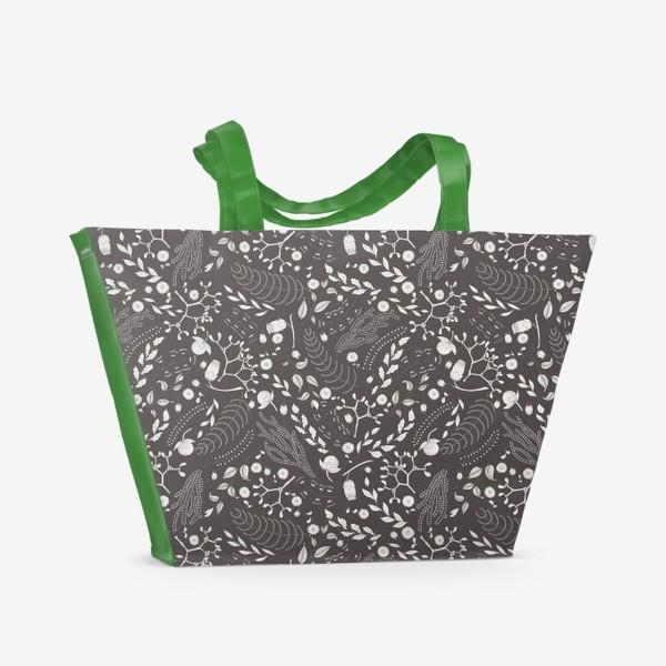 Пляжная сумка «Цветочный монохром 2»