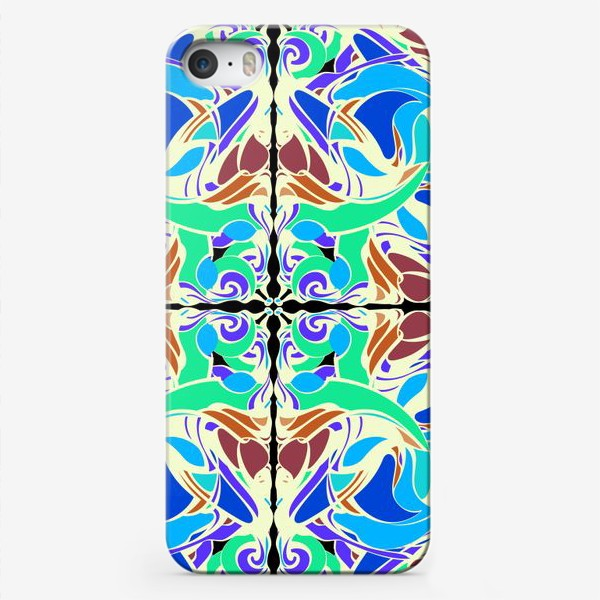 Чехол iPhone «Абстрактный голубой узор в восточном стиле, паттерн в стиле модерн, мандала, орнамент»