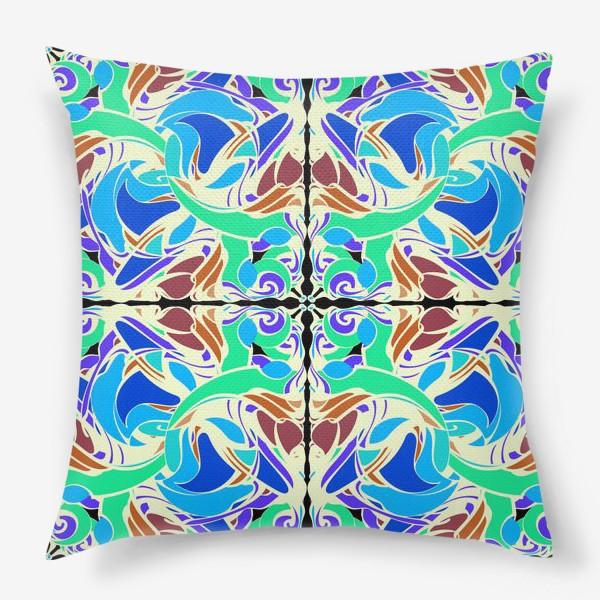 Подушка «Абстрактный голубой узор в восточном стиле, паттерн в стиле модерн, мандала, орнамент»