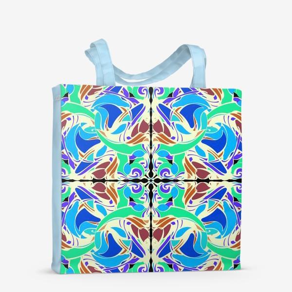 Сумка-шоппер «Абстрактный голубой узор в восточном стиле, паттерн в стиле модерн, мандала, орнамент»