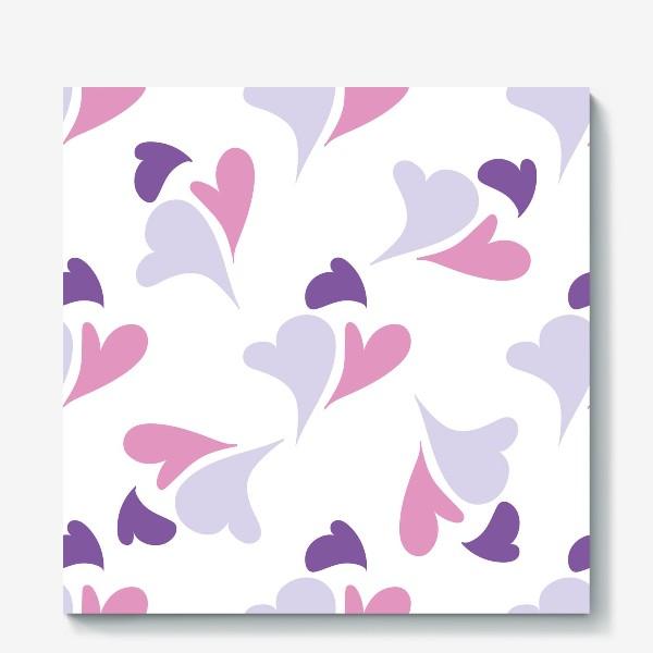 Холст «Hearts Purple Pattern»