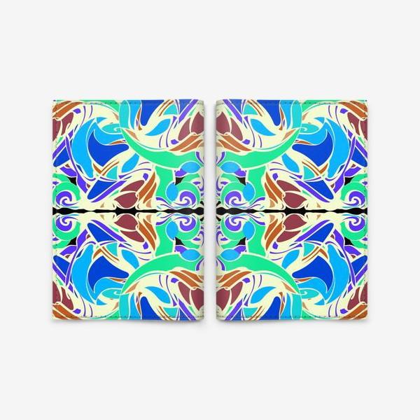 Обложка для паспорта «Абстрактный голубой узор в восточном стиле, паттерн в стиле модерн, мандала, орнамент»