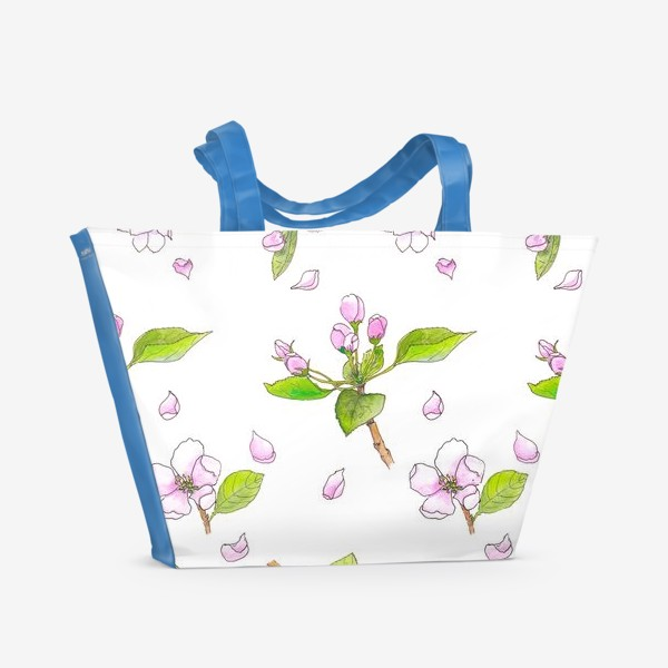 Пляжная сумка «Весна. Акварельный принт Цветущая яблоня. Цветы»