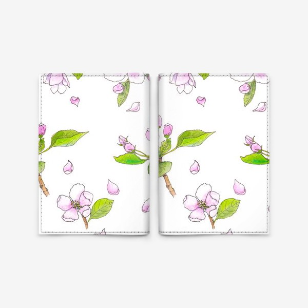 Обложка для паспорта «Весна. Акварельный принт Цветущая яблоня. Цветы»