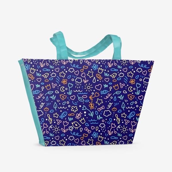 Пляжная сумка «Птицы, облака, трава, цветы, сердце, солнце»