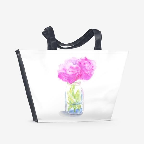 Пляжная сумка «Пионы в банке. Букет розовых цветов, летний акварельный абстрактный принт на белом фоне»