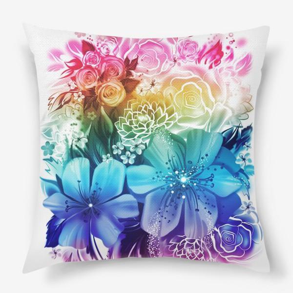 Подушка «Розы и ромашки с радужным градиентом»