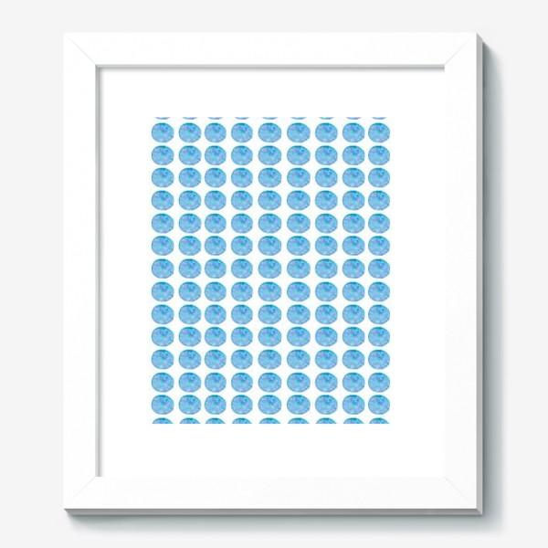 Картина «Мерцающий голубой горошек. Акварельные круги. Blue watercolor dots.»