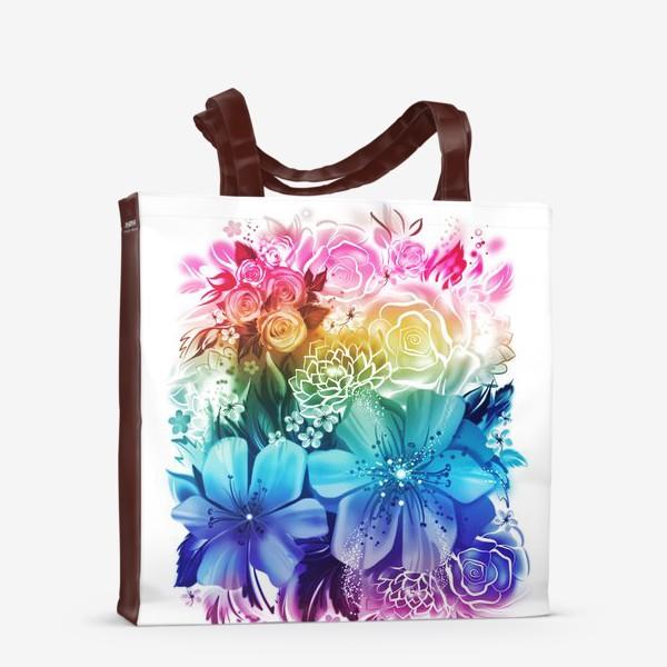 Сумка-шоппер «Розы и ромашки с радужным градиентом»