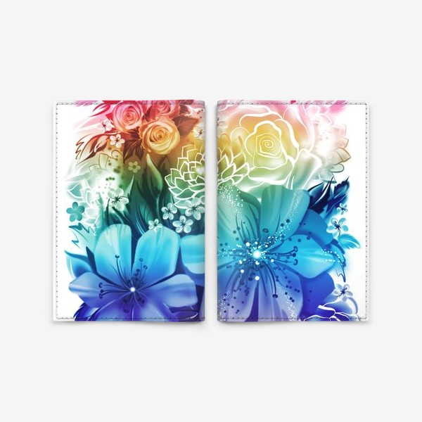 Обложка для паспорта «Розы и ромашки с радужным градиентом»