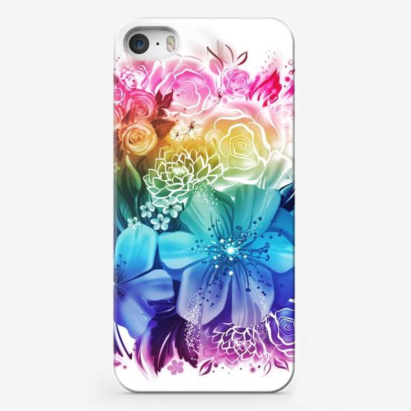 Чехол iPhone «Розы и ромашки с радужным градиентом»