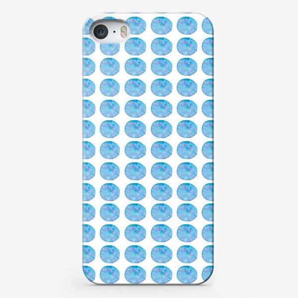 Чехол iPhone «Мерцающий голубой горошек. Акварельные круги. Blue watercolor dots.»