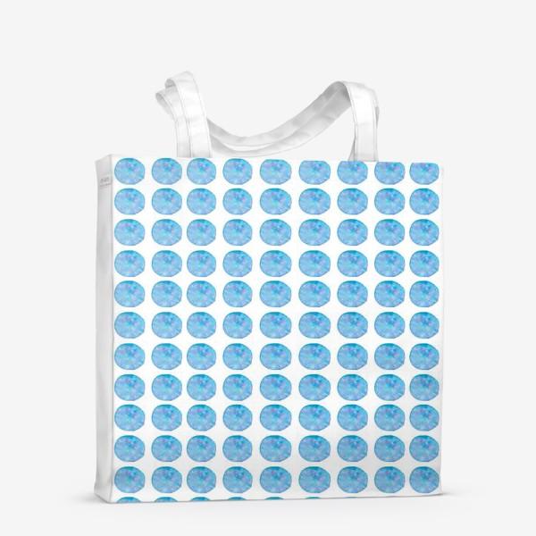 Сумка-шоппер «Мерцающий голубой горошек. Акварельные круги. Blue watercolor dots.»
