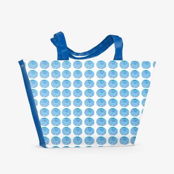 Пляжная сумка «Мерцающий голубой горошек. Акварельные круги. Blue watercolor dots.»