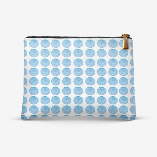 Косметичка «Мерцающий голубой горошек. Акварельные круги. Blue watercolor dots.»