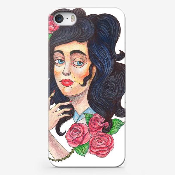 Чехол iPhone «Девушка и розы»