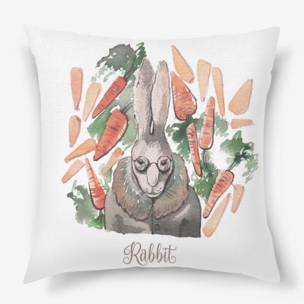 """Подушка «Кролик:""""Запасайся морковкой!""""»"""