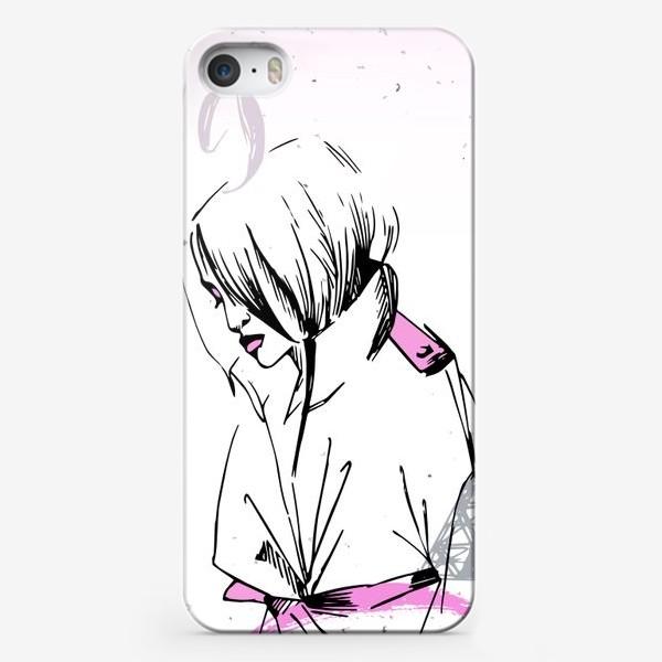 Чехол iPhone «Девушка на фоне Эйфелевой башни, надпись Paris, Fashion week»