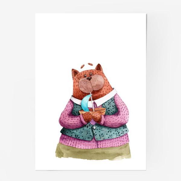 Постер «Кот с корабликом»