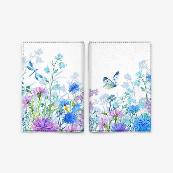 Обложка для паспорта «полевые цветы и бабочка»
