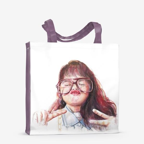 Сумка-шоппер «девочка в очках»