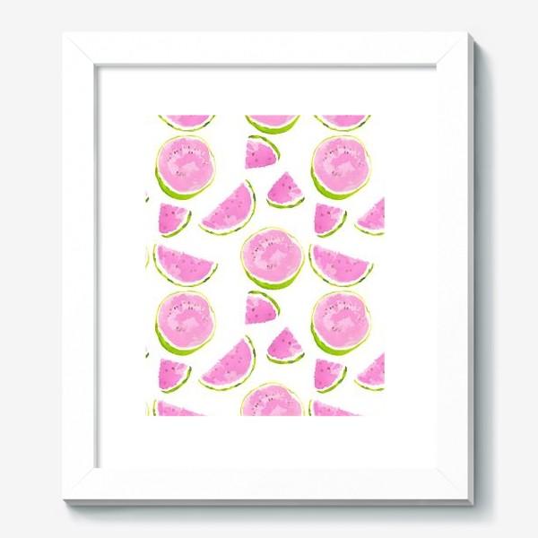 Картина «Сочный арбуз. Летний акварельный принт на белом фоне»