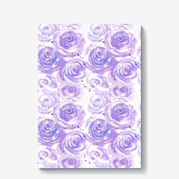 Холст «Фиолетовые розы. Акварельный цветочный абстрактный принт на белом фоне»