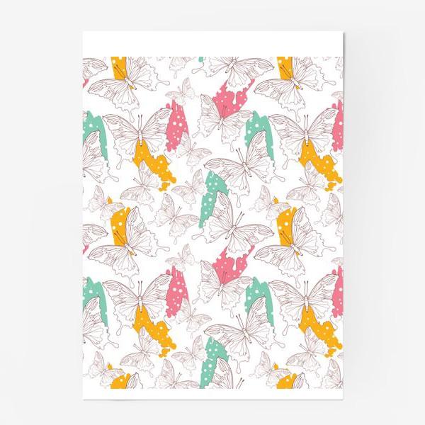 Постер «Яркий паттерн с бабочками»