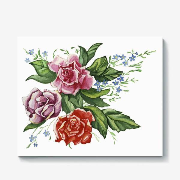 Холст «Розы и незабудки»