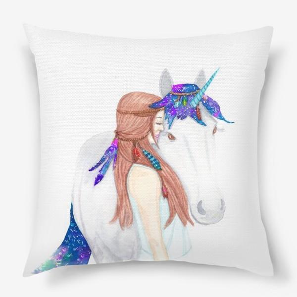 Подушка «Девушка и единорог. Believe in unicorns»