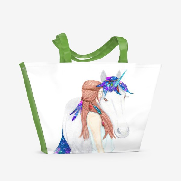 Пляжная сумка «Девушка и единорог. Believe in unicorns»