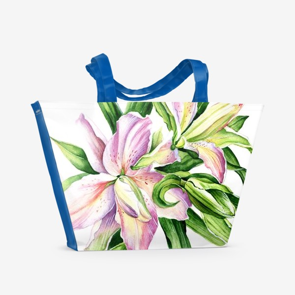 Пляжная сумка «Розоовые лилии»