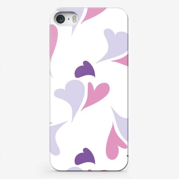 Чехол iPhone «Hearts Purple Pattern»