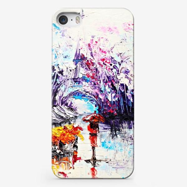 Чехол iPhone «Девушка в красном и Париж»