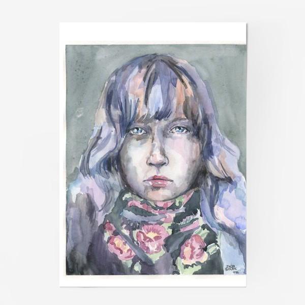 Постер «Девушка с цветочным шарфом»