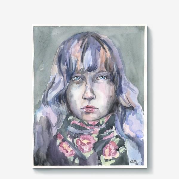 Холст «Девушка с цветочным шарфом»